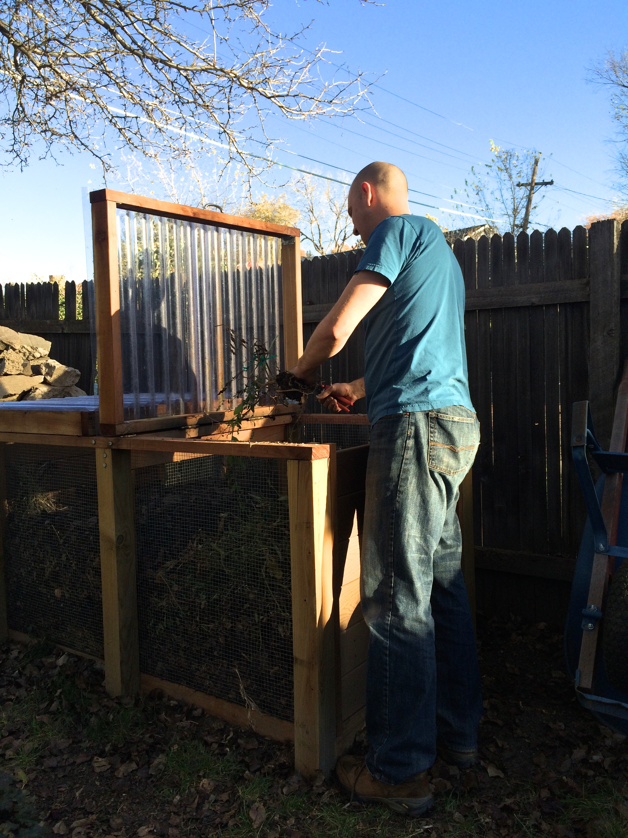 Steve composting the summer garden
